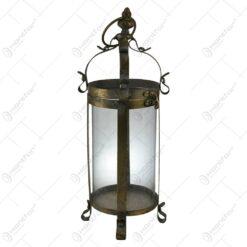 Candela realizata din sticla si metal - Design Vintage - Auriu (38 CM)