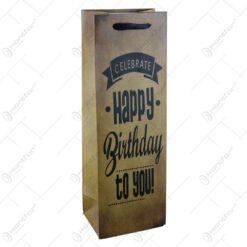 Punga cadou pentru bauturi realizata din hartie laminata - Happy Birthday