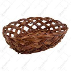 Cos servire oval realizat din rachita - Maro