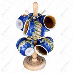 Canite ceramice artizanale pe suport din lemn. tip stativ cu talpa si agatatoare - 6 canite - Diferite culori