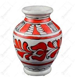 Vaza ceramica rosie de Corund pictat manual 10x7 CM