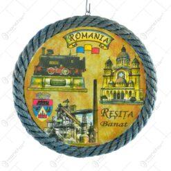 Farfurie decor in forma rotunda. cu margine din franghie. cu graficaa in mijloc - Orase din Romania