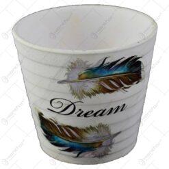 Ghiveci realizat din ceramica - Design cu pene - Diverse modele