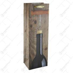 Punga cadou pentru bauturi realizata din hartie laminata - Design Sticla de vin cu tirbuson