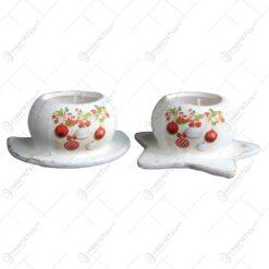 Suport pentru lumanare realizat din ceramica - Design cu glob si ghirlanda - Diverse modele (Model 2)
