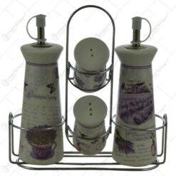 Set oliviera si recipiente condimente din ceramica pe suport din inox - Lavanda Casuta Garden