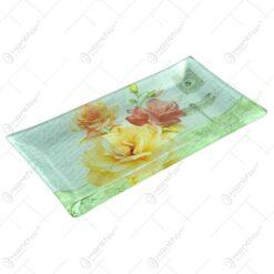 Platou pentru servire realizat din sticla - Design Trandafiri - Dreptunghiular (Tip 3)