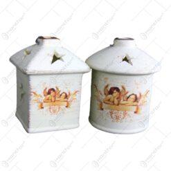 Candela pentru lumanare realizata din ceramica - Design Ingeri - 2 modele ( 10cm )