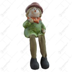 Figurina decorativa pentru toamna realizata din ceramica cu picioare din textil - Copil - 2 modele 10cm (Model 2)