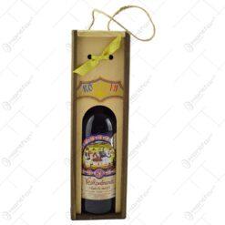 Cutie de vin din lemn. tip stativ. cu grafica. cu sticla de vin - Romania
