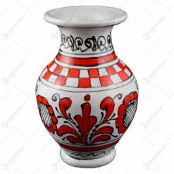Vaza ceramica rosie de Corund pictat manual 14x9 CM