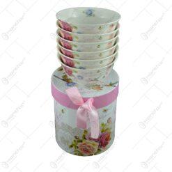Set 6 boluri realizate din ceramica - Design cu trandafiri