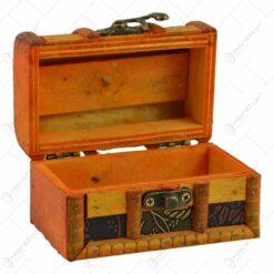 Cutiuta realizata din lemn si metal in forma de cufar - Design Vintage (Tip 2)