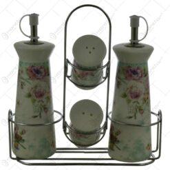 Set oliviera si recipiente condimente din ceramica pe suport din inox - Design Trandafiri