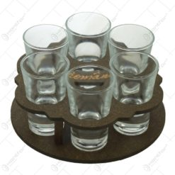 Suport pahare din lemn in forma rotunda cu 6 pahare de tuica