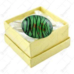 Bratara metalica cu piatra verde - Design Elegnat