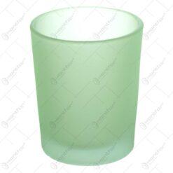 Candela verde realizata din sticla mata - Rotund
