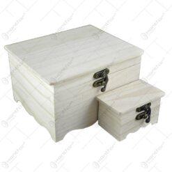 Set 2 Cutii decorabile pentru bijuterii din lemn 17x15 CM