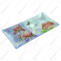 Platou pentru servire realizat din sticla - Design Flowers - Dreptunghiular (Tip 2)