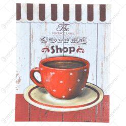 Tablou pentru perete ralizat din lemn panza si metal - Design Coffee