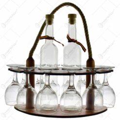 Suport lemn cu doua sticle si 12 pahare cu talpa