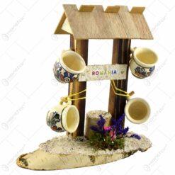 Suport canite cu agatatoare din lemn. in forma de fantana cu acoperis - 4 canite - Diferite tipuri