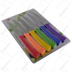 Set cutite de bucatarie realizate din inox si cu manere din plastic - 6 buc. (Model 2)