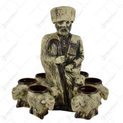 Set pentru vin realizat din ceramica - Design Ciobanas (Model 2)