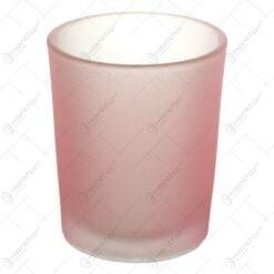 Candela rosie realizata din sticla mata - Rotund (Model 1)