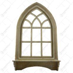 Oglinda tip fereastra cu cuier realizata din lemn - Natur