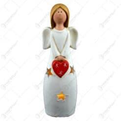 Figurina decorativa cu led realizata din ceramica - Inger cu inimioara