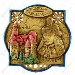 Aplica din gips in forma octogonala cu banda tricolor - Colaje cu orase din Romania. Castelul Bran si Dracula