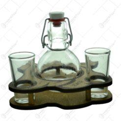 Suport lemn cu sticla si cu 2 pahare - Design Rustic (1)