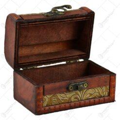 Cutiuta realizata din lemn si metal in forma de cufar - Design Vintage (Tip 1)