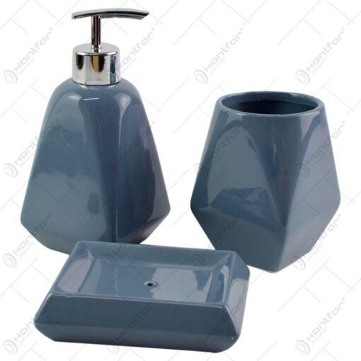 Set 3 accesorii pentru baie realizate din ceramica - Diverse culori