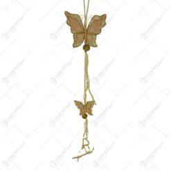 Decoratiune pentru geam in forma de fluture cu panglici - Auriu