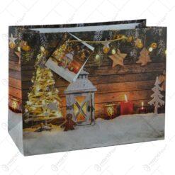 Punga pentru cadouri - Design cu zapada. lumanari si decoratiuni pentru Craciun