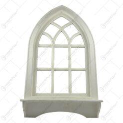Oglinda tip fereastra cu cuier realizata din lemn - Alb