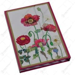 Notes multifunctional pentru femei/fete - Desgin cu flori de mac