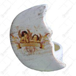 Candela pentru lumanare realizata din ceramica - Design Semiluna & Ingeri