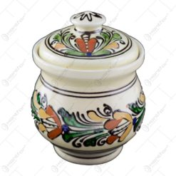 Recipient pentru miere din ceramica de Corund pictat cu motive traditionale in diferite culori - Mica