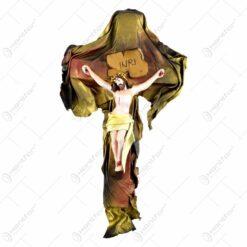 Cruce din ipsos si piele - Crucifix  cu Isus rastignit 33x18 CM