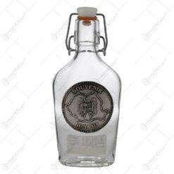 Plosca realizata din sticla cu dop de cauciuc - Design Romania (0.2 L)