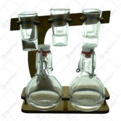 Suport lemn cu 2 sticle si cu pahare de tuica