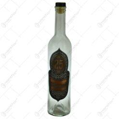 "Sticla decorata cu placuta inscriptionata - Design cu cifra 25 si mesajul ""Szeretettel"""
