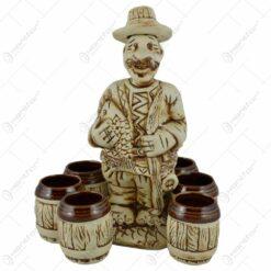 Set pentru vin realizat din ceramica - Design Pescar