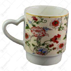 Cana realizata din ceramica - Design cu flori - Diverse modele (Model 2)