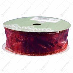 Panglica decorativa rosie cu sclipici pentru Craciun