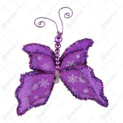 Fluture mov decorativ cu clips (Model 2)