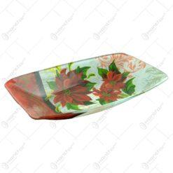 Platou realizat din sticla - Design Craciunita - Dreptunghi